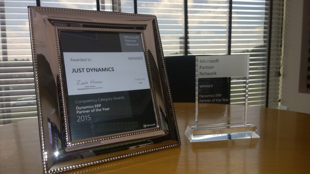 Just Dynamics Awarded the Microsoft Dynamics™ ERP Partner of the Year 2015